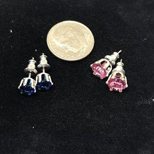 Swarovski Elements Jewelry - 2 Pairs of Pink, Blue Crystal Stud Earrings JW-26